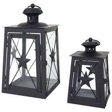 Set 2x Lanterne Decorative Hwc-b39 Stile Country Metallo E Vetro