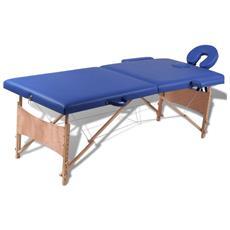 Lettino Pieghevole Da Massaggio Blu 2 Zone Con Telaio Legno