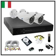Kit Videosorveglianza Ahd 2 Telecamere 960P 24Led Alta Definizione Completo Dvr Cavi E Hard Disk