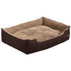 Cuccia Per Cane - Con Cuscino Che Si Puo Voltare Tessuto Oxford / cotone Pp - 75 X 56 X 19 Cm [ gr. L] - Marrone Scuro / Marrone Chiaro