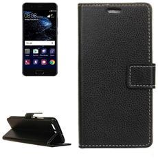 Custodia Leather Case Flip Cover Di Protezione Pelle Nera Per Huawei P10