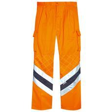 Pantalone Ad Alta Visibilità In Cotone E Poliestere Colore Arancio E Blu Taglia 64