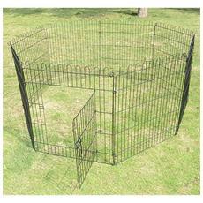 Recinto Gabbia Per Cani Gatti In Acciaio 8 Pezzi 158 X 61cm