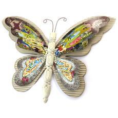 decorazione della parete farfalla multicolore babushka (legno) - 46x33 cm - [ n5858]