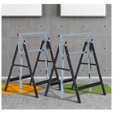 Set 2 Cavalletti Da Lavoro In Acciaio Nero 68x58x80cm