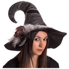 BAKAJI - Cappello Da Strega In Tessuto Accessori Costumi Halloween E  Carnevale 44x30cm 5d4f258c30b8