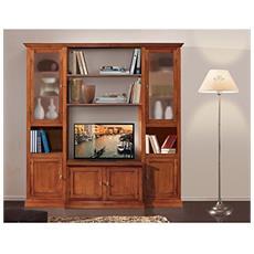 Parete Libreria Tv In Legno 225x50x220h