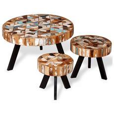 Set Tavolino Da Caffè 3 Pz In Legno Massello Riciclato