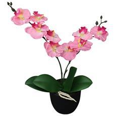Orchidea Artificiale Con Vaso 30 Cm Rosa