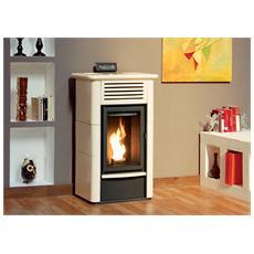 palladio svizzera stufa a pellet potenza termica nominale 13 kw volume riscaldabile 325 m3 colore bianco