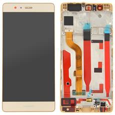 Lcd Touch Screen Vetro E Cover Frame Completo Gold Per P9