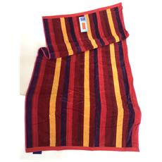Asciugamano Telo Mare 100% Cotone Stripes Burgundy 70x140 Cm 6220491701413-493