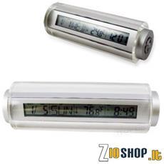 Sveglia In Plexiglass Da Comodino Con Calendario E Termometro.