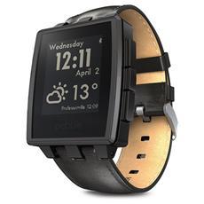 Smartwatch Steel con cassa acciaio e cinturino in pelle per Attività Fisica e Sonno Android e iOS - Nero