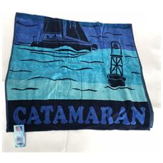 Asciugamano Telo Mare 100% Cotone Blue Catmaran 86x160 Cm 6220491860202
