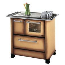 Cucina a Legna Romantica 4,5 SX Acciaio Porcellanato Potenza Termica Nominale 6 kW 172 m3 Riscaldabili Colore Marrone Sfumato