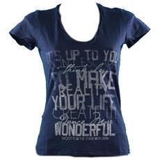 T-shirt Donna Fiammata Stampa Blu S