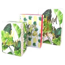 set di 3 scatole di memoria 'palm beach' verde bianco - [ p1056]
