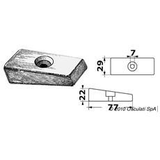 Anodo a piastrina 75/225 mm 36x72