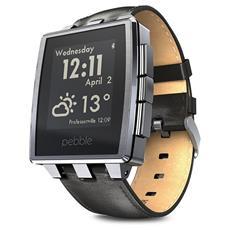 Smartwatch Steel con cassa acciaio e cinturino in pelle per Attività Fisica e Sonno Android e iOS - Grigio