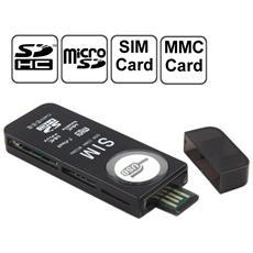 Lettore Usb Universale Card Reader Nero Con Supporto Sd, Mmc, Sim, Tf Card