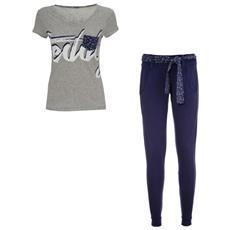 Completo Donna Pantalone + T-shirt Xs Azzurro Bianco