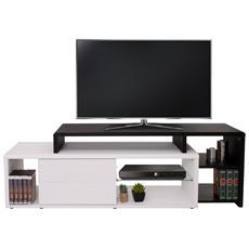 Porta Tv Con Cassetti Design Moderno Hwc-b91 Mdf 49x151x40cm Bianco Nero