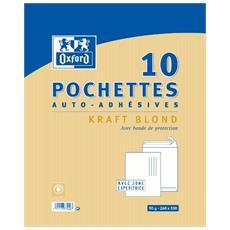 Kraft 100100022 - Buste Autosigillanti, 260 X 330 Mm, 90 G, Confezione Da 10, Colore: Oro