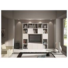 Libreria Parete Moderno Soggiorno Porta Tv Legno Bianco Frassinato Componibile