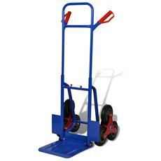 Carrello Portapacchi per Scale con 6 Ruote Capacità 150 kg Colore Rosso e Blu