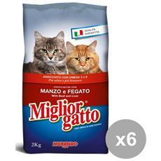 Set 6 2 Kg. secco Manzo-fegato Cibo Per Animali