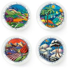 Set 4 Piatti Da Parete Egan Calistini 4 Stagioni In Porcellana Dipinto A Mano Resistente Per Lavastoviglie E Microonde Cm 16