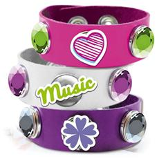 Violetta - V-Bracelet Click And Charm - Braccialetto Slap Bianco / Rosa / Viola