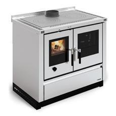Cucina a Legna Padova Cristallo e Inox Satinato Potenza Termica Nominale 8 kW 229 m3 Riscaldabili Colore Inox