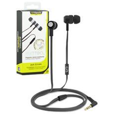 Elettro Auricolare Stereo Jack 3,5 mm con Microfono + Tasto di Risposta e Cavo Piatto Anti-Groviglio Colore Nero