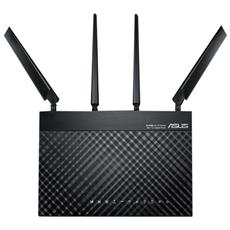 Modem Router Wi-Fi 4G-AC68U AC 1900 Dual Band LTE / Interfacce 4 x RJ45 Gigabit BaseT LAN / 1 x RJ45 WAN / 1 x USB 3.0 / 1 x SIM Card Colore Nero