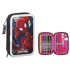 Astuccio Portapenne Spiderman Small Double Filled Pencil Case With 34 Pcs.