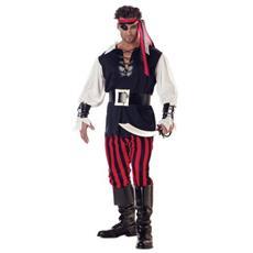 Costume Carnevale Pirata Benda Taglia Unica Vestito Abito Travestimento Capitano Caraibi Jake Uomo