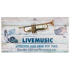 Quadro Stampa Su Tela Da Parete Beige Live Music Vintage Salotto