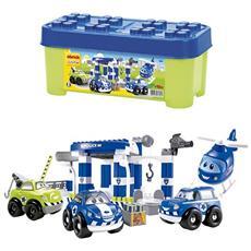 ECF7600001394 Abrick - Bauletto della Polizia, con tre veicoli e un elicottero