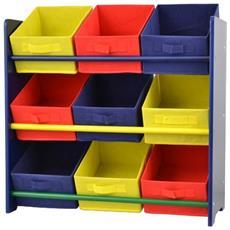 Scaffale Multicolor Bambini 9x Contenitori 30x66x65cm