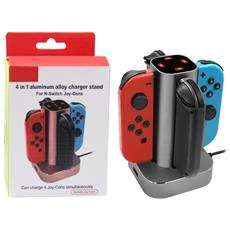Caricabatterie In Lega Di Alluminio 4 In 1 Per Nintendo Swtich Joy-cons Grigio