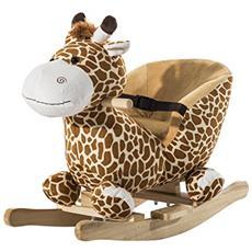Cavallo a dondolo in legno cervo per i bambini 60 x 33 x 45cm caffè
