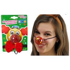 Set 2 Pezzi Naso Con Luce Led + Papillon Nasi Clown Nose Pagliaccio Spugna Festa Party Costume Cosplay Vestito Carnevale