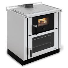 Cucina a Legna Verona Cristallo e Inox Satinato Potenza Termica Nominale 8 kW 229 m3 Riscaldabili Colore Inox