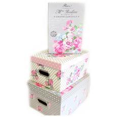 set di 3 scatole di memoria 'belle epoque' taupe beige - [ m3973]