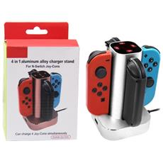 Caricabatterie In Lega Di Alluminio 4 In 1 Per Nintendo Swtich Joy-cons (argento)