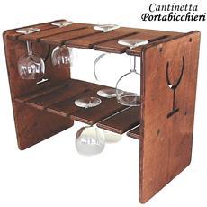 Cantinetta Porta Bicchieri Reggibicchieri In Legno Scuro 45 X 25 X 37 Cm