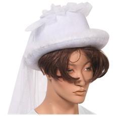 Cappello Sposa Con Un Velo Di Cilindro Bianco