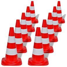 Set 10 Coni Stradali Segnaletici Riflettenti Rosso E Bianco 50 Cm